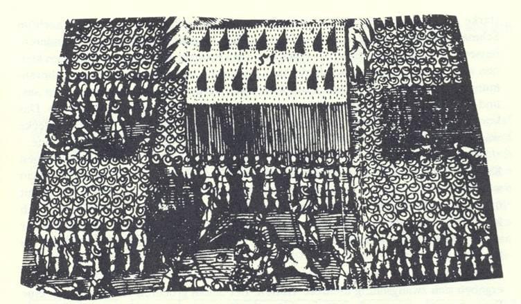 """Detail rytiny španělské tercie – hlavní těleso pikenýrů a mušketýrů se čtyřmi menšími útvary střelců z arkebuz tzv. """"mangas"""""""