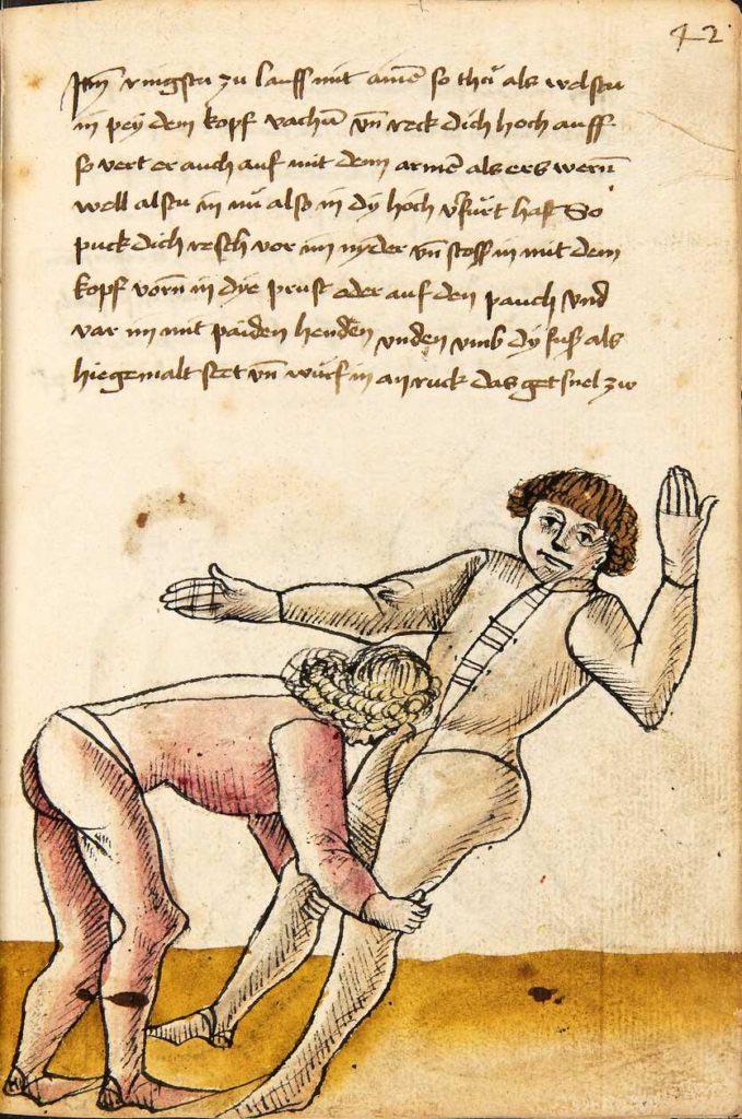 Útok hlavou do břicha a zároveň chycení za nohy. Kodex Wallerstein – Fol. 42r