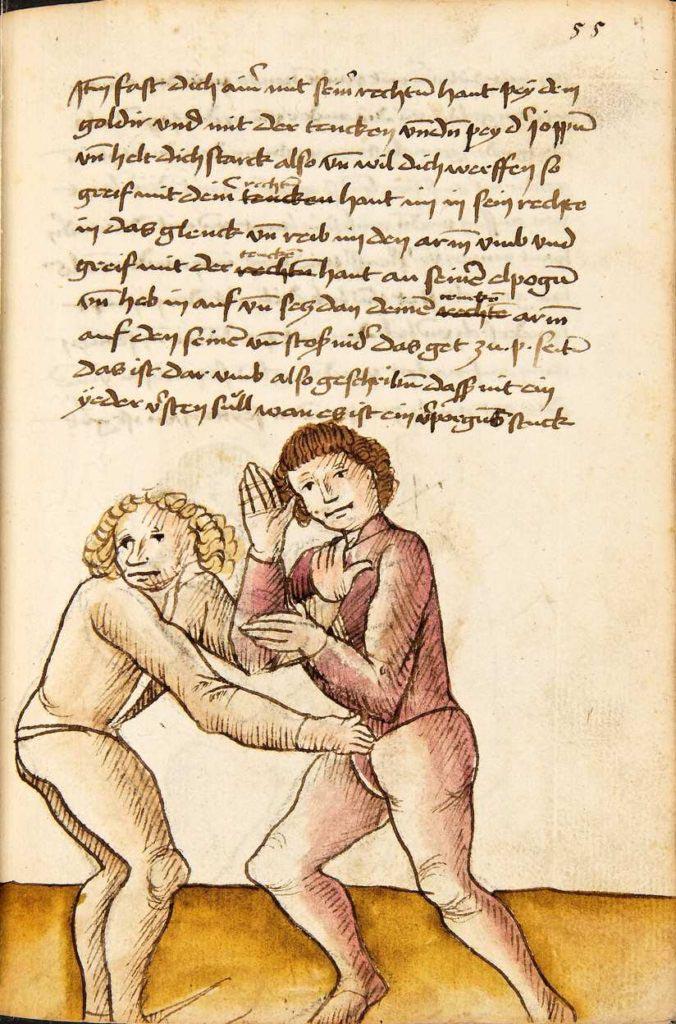 Jak uniknout, když tě soupeř drží oběma rukama. Pozor, kvůli utajení jsou přehozené ruce. Kodex Wallerstein – Fol. 55r