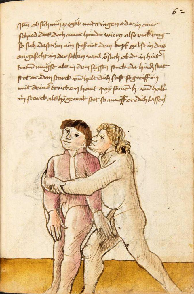 Jak uniknout, když tě soupeř drží zezadu? Chyť jej za varlata. Kodex Wallerstein – Fol. 62r