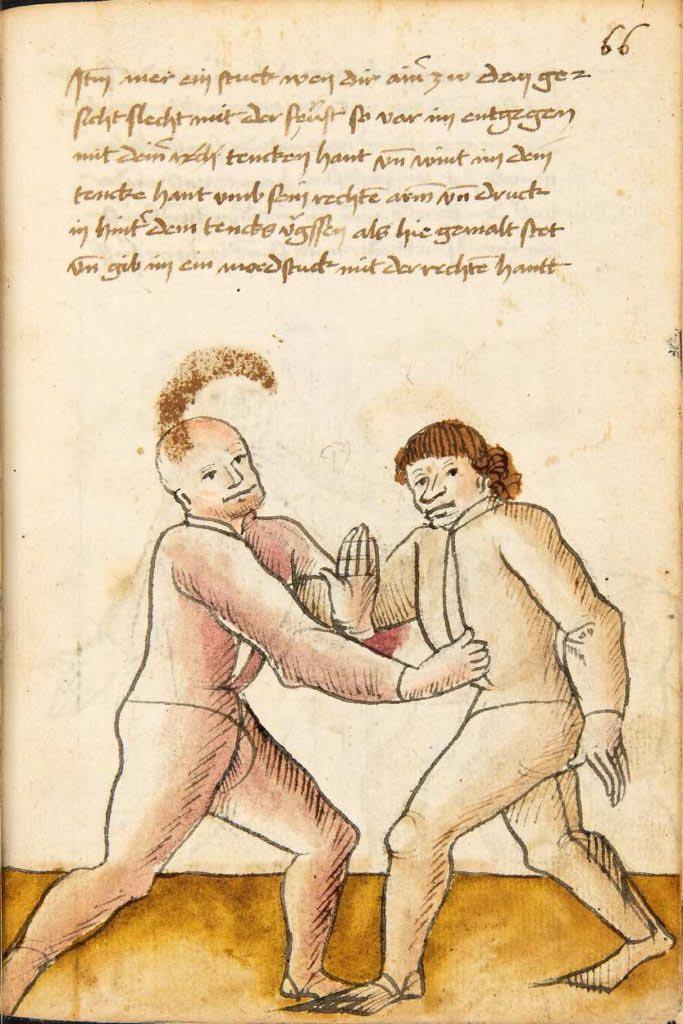 Ovinutí soupeřovy paže levačkou a zároveň protiúder pravou rukou. Kodex Wallerstein – Fol. 66r