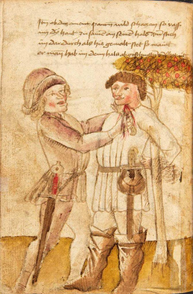Při okrádání sedláka stačí stisknout kůži na krku a propíchnout ji. Kodex Wallerstein – Fol. 74v