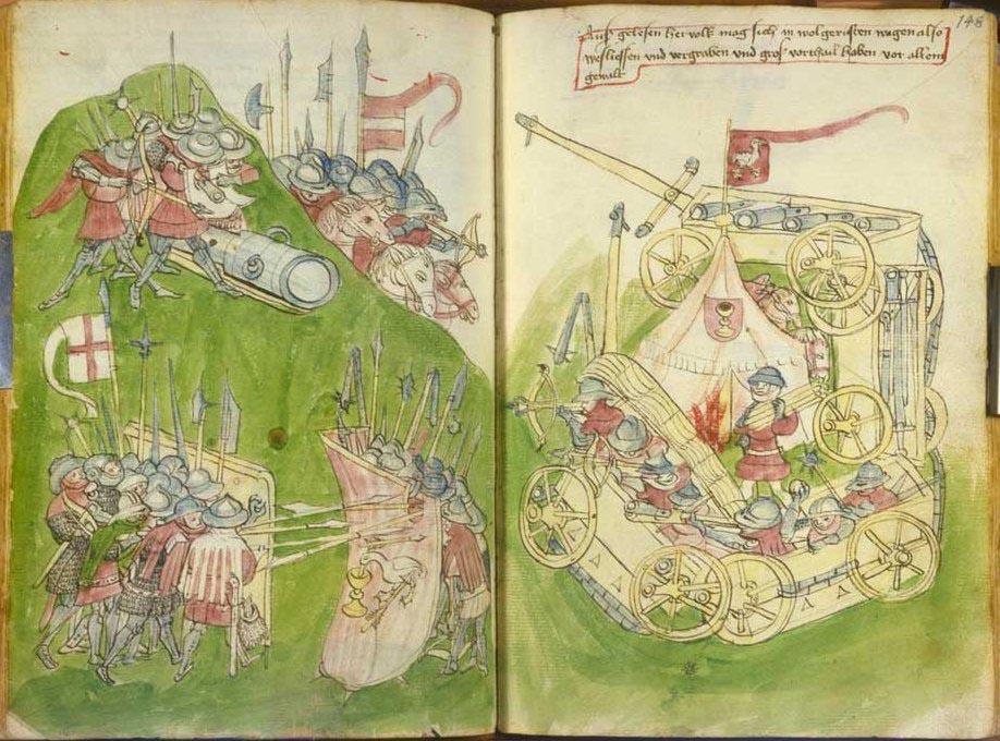 Křižáci proti husitům skrytým za vozovou hradbou zobrazení ve Vídeňském kodexu z roku 1436