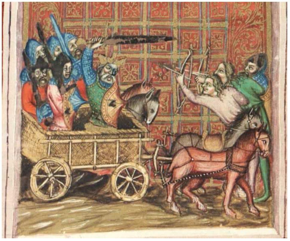 Vojsko na voze zobzrazené v Bibli Václava IV. z konce 14. století