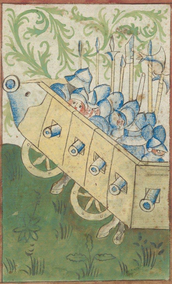 Bojové vozy v takzvaném Kriegsbuchu, který byl sepsán v Zurichu někdy po roce 1420