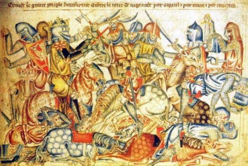 Bitva u Bannockburnu (1314) na výjevu z Holkhamské bible z let 1327–1335