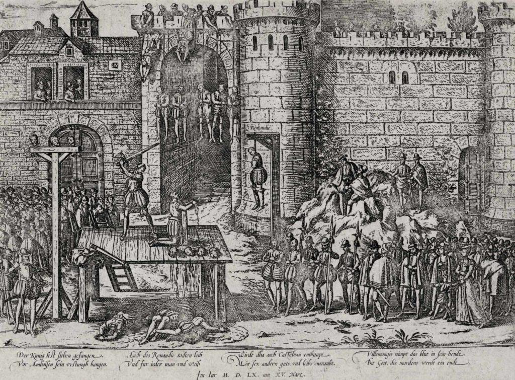 Poprava spiklenců na zámku v Amboise, rytina Franse Hogenberga z druhé poloviny 16. století