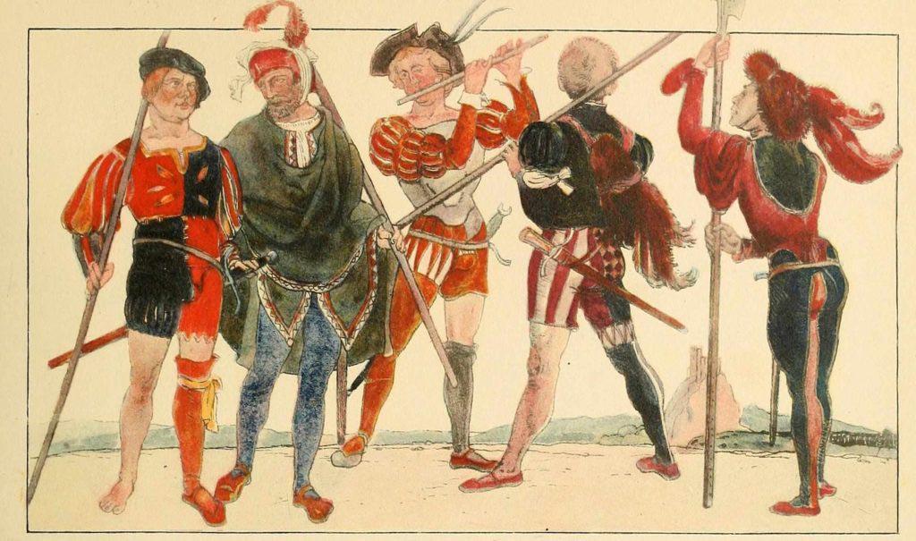 Typickým znakem lancknechtů bylo jejich pestrobarevné oblečení. Obrázek z knihy Geschichte des Kostüms