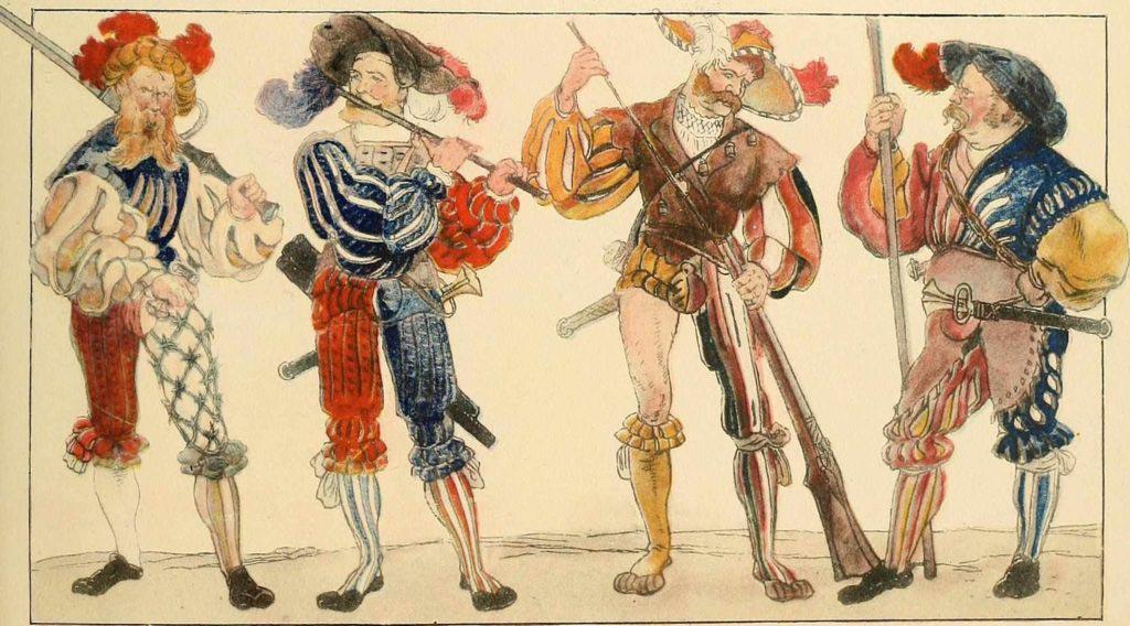 Němečtí lancknechti v pestrobarevném oblečení z knihy Geschichte des Kostüms