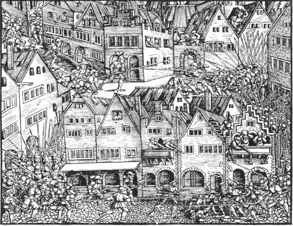 Lancknechti útočící na město, ilustrace ze švýcarské kroniky publikované v Curychu 1548