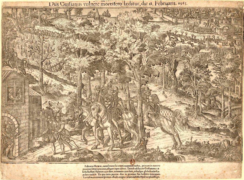 Vražda vévody de Guise na dobové rytině