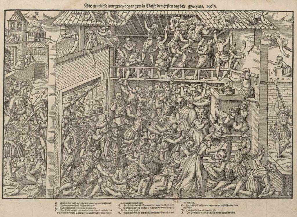 Masakr protestantů ve Wasy (březen 1562) na rytině ze 16. století