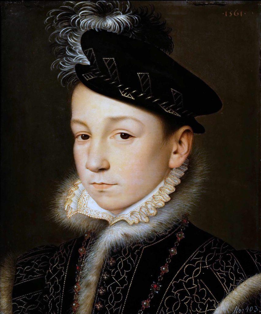 Král Karel IX. krátce po svém nástupu na trůn v podání francouzského malíře Francoise Cloueta (polovina 16. století)