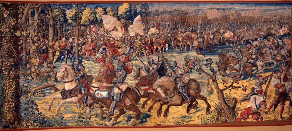 Francouzští rytíři v boji s německými lancknechty v bitvě u Pavie (1525)
