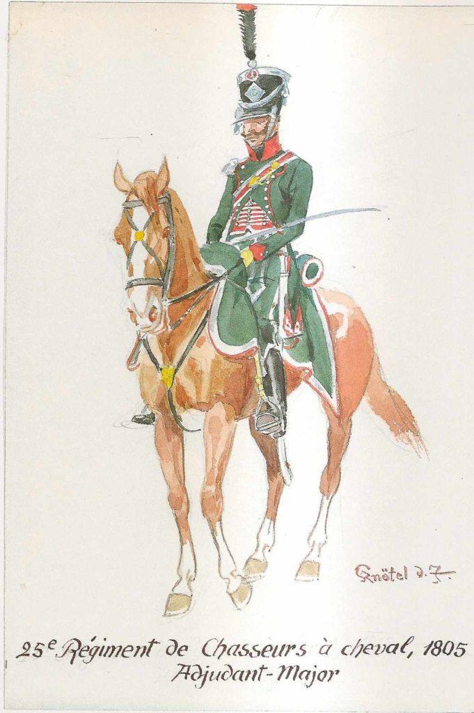 Francouzský jízdní myslivec 25. pluku z roku 1805