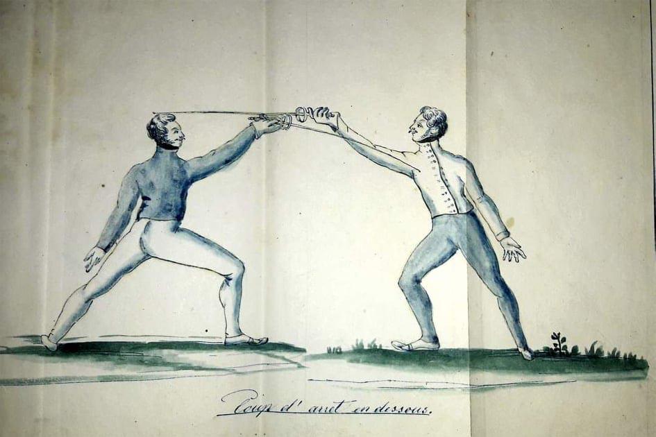 Lafaugèrova skica z jeho knihy o šermu Traité de l'art de faire des armes