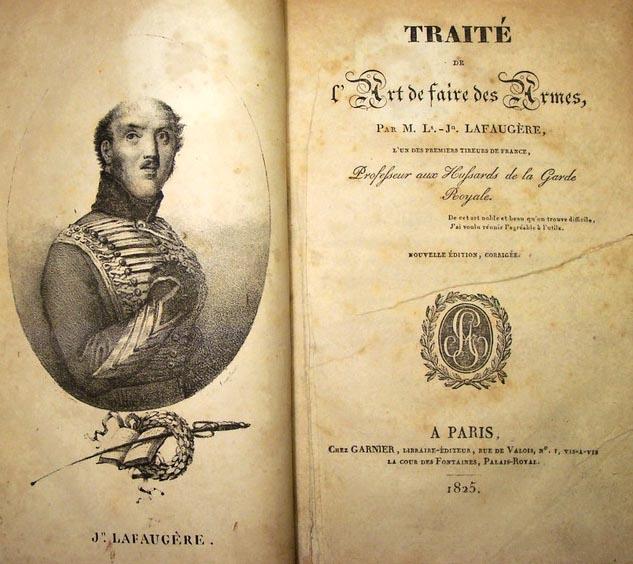 Úvodní stránky Lafaugèrova pojednání o šermu Traité de l'art de faire des armes s jeho vlastním portrétem