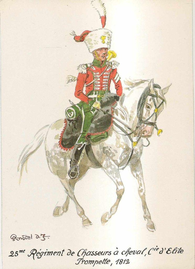 Trubač francouzské elitní kompanie 25. pluku jízdních myslivců z roku 1812