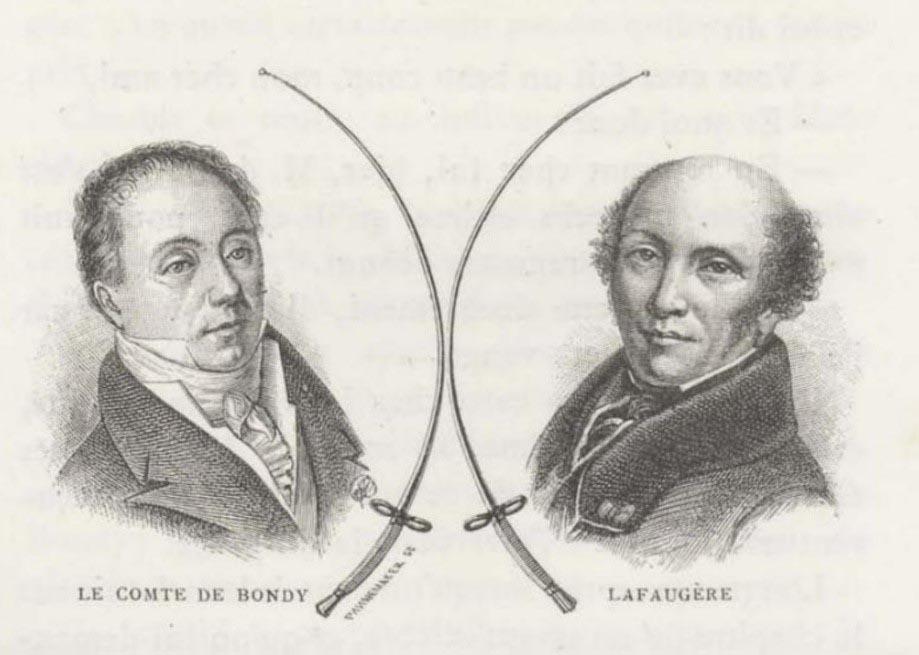 Hrabě de Bondy a Louis-Justin Lafaugère, dva slavní duelanti ve slavném souboji v hotelu d´Orsay
