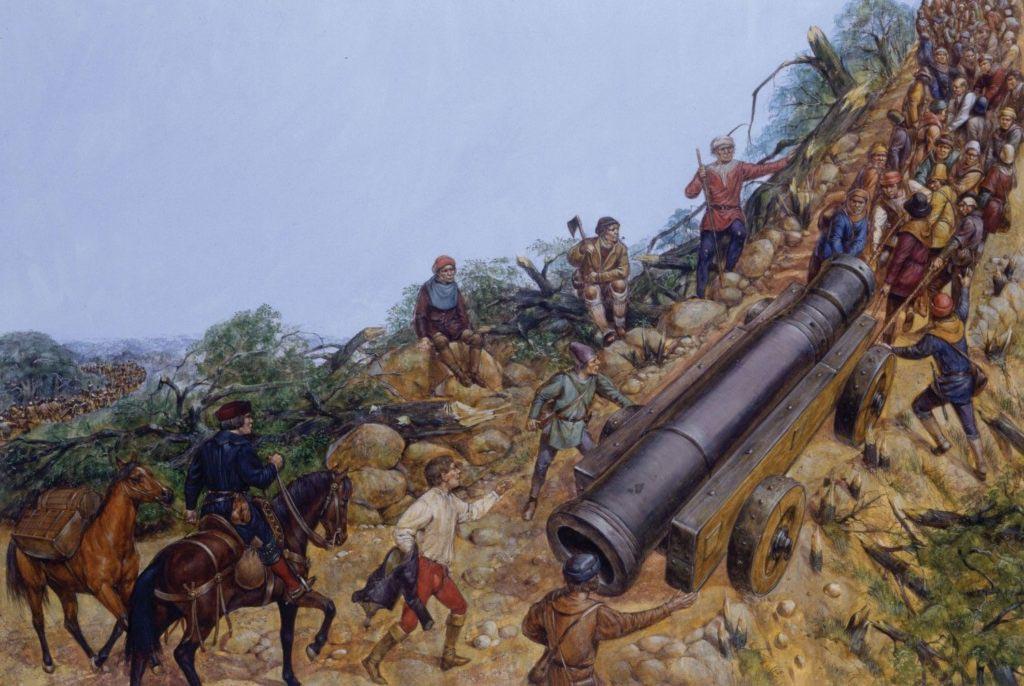 Francouzské dělostřelectvo v 16. století při přechodu hor