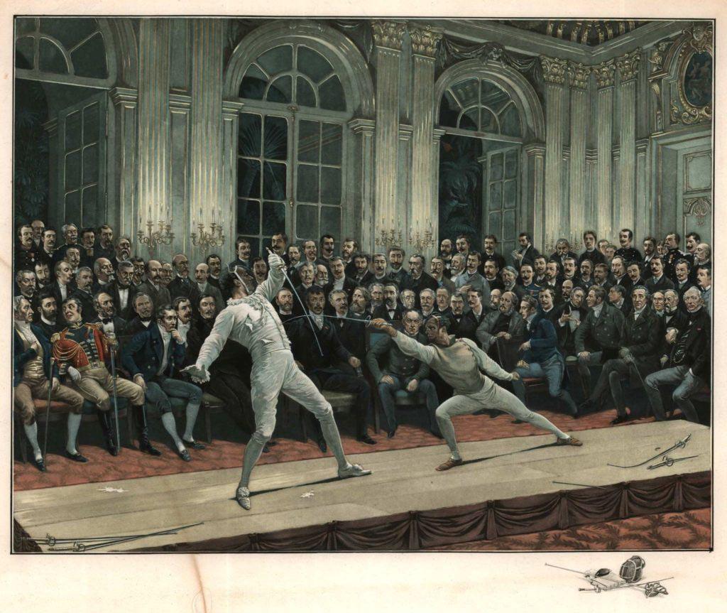Slavný duel francouzského šermířského mistra Louise Justina Lafaugèra s hrabětem De Bondy v hotelu Quai d'Orsay