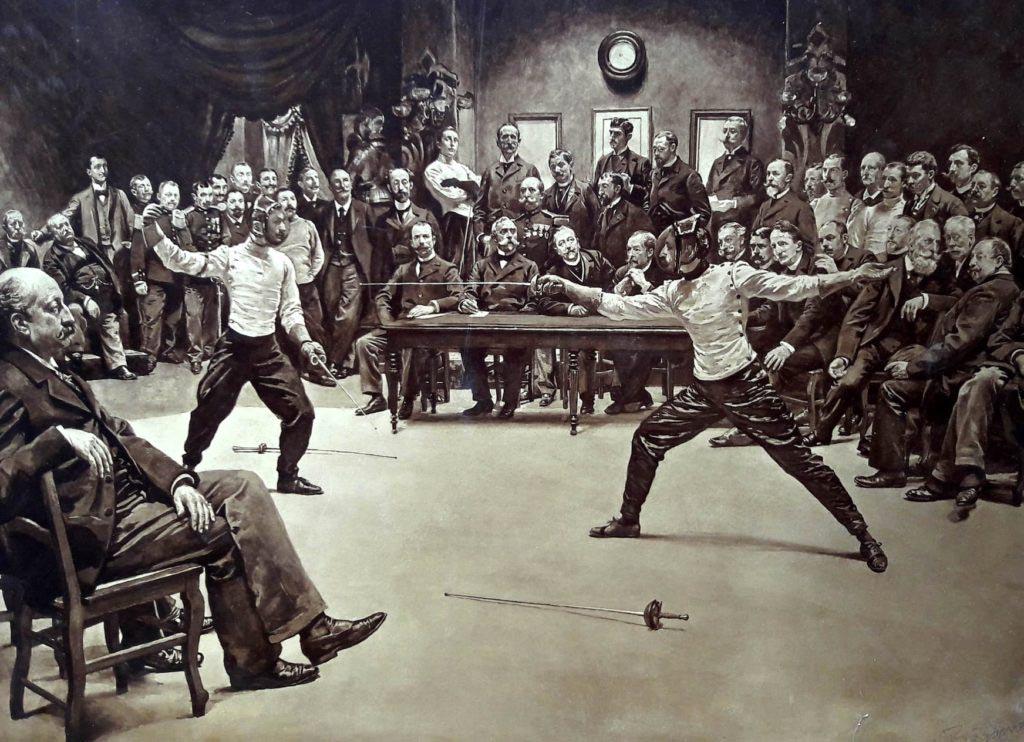 Ukázka šermířského duelu s fleretem z 19. století