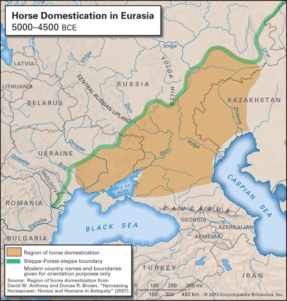 Mapa představující oblast, kde docházelo v 5. tisíciletí k postupné domestikaci koně