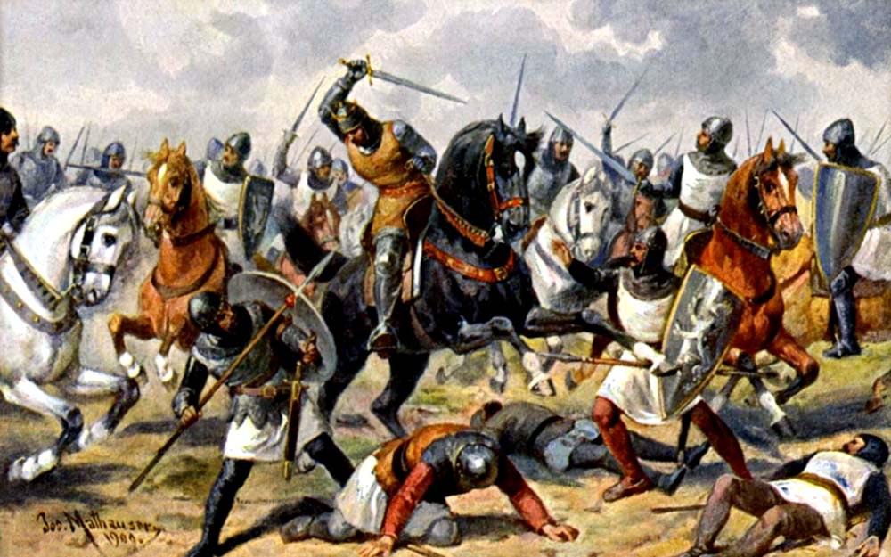 Čeští bojovníci v čele s králem Vladislavem II. bojují před Milánem na romantické ilustraci Josefa Mathausera