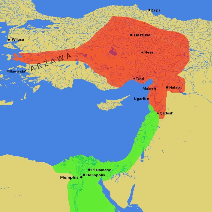 Mapa představující Egypt faraona Ramesse II. (zeleně) a království chetitského krále Muwatilliše (červeně) s městem Kadeš na hranicích