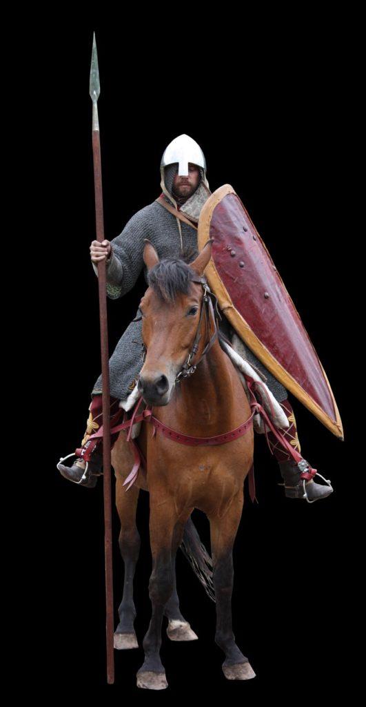 Obrněný jezdec z 12. století v rekonstrukci tehdejšího vybavení z projektu Curia Vitkov. Tak nějak zřejmě vypadal družiník krále Vladislava na válečné výpravě