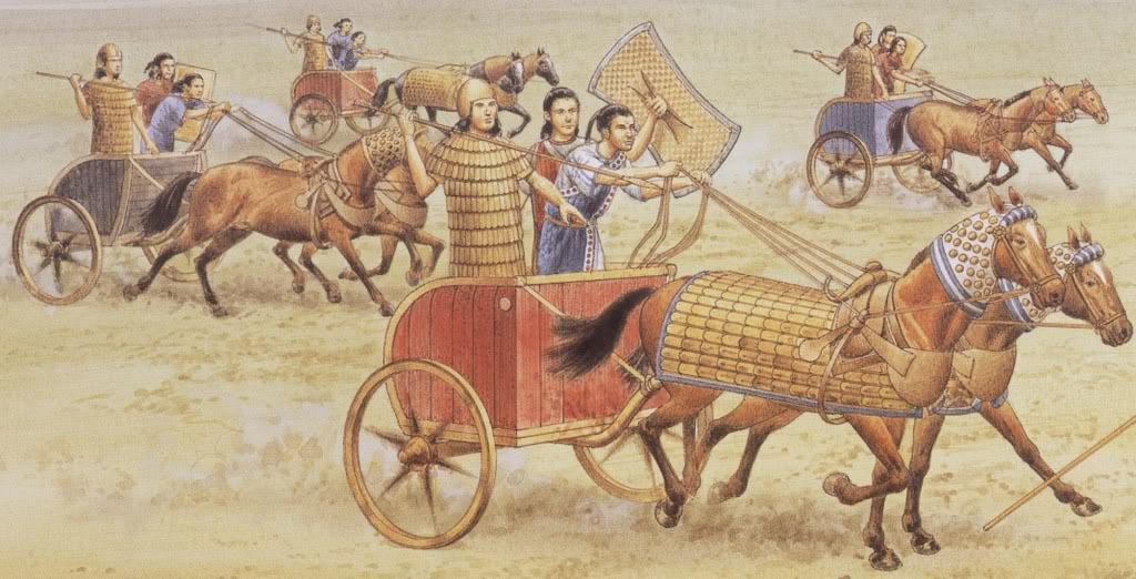 Chetitský válečný vůz byl robustnější, pevnější, ale pomalejší a hůře manévrovatelný než egyptský