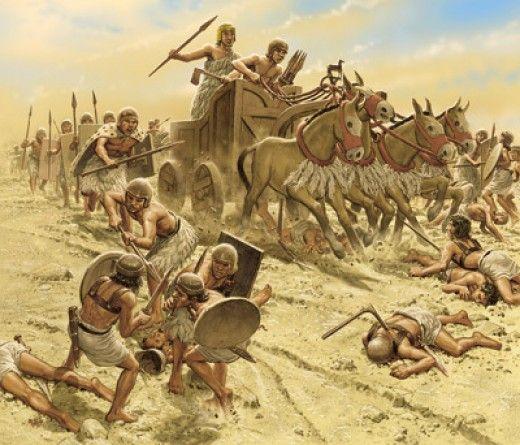 Kresebná představa sumerského těžkého čtyřkolového vozu taženého osly z konce 3. tisíciletí př. n. l. O chvíli později už Sumerové zapřáhli koně a místo čtyř kol s těžkou kabinou se začaly využívat lehčí dvoukoláky