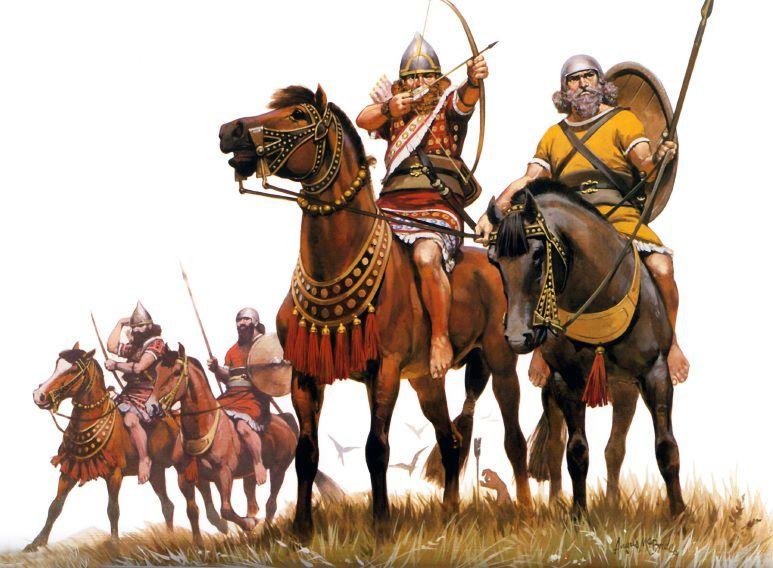 Asyrská inovace s jezdci usazenými přímo na hřbetech koní, která se začala uplatňovat velice váhavě a pomalu od 10. století př. n. l. Jezdec se štítem doprovázel jízdního lukostřelce v boji, kryl jej a držel opratě obou koní