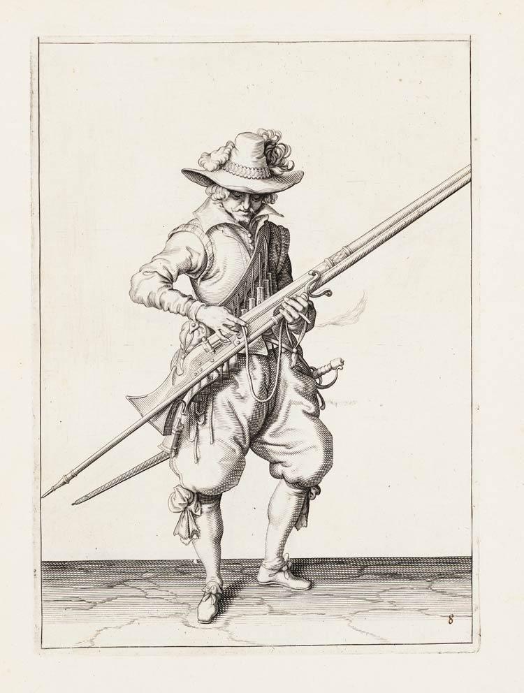 Vyobrazení mušketýra během nabíjení z díla Jacoba de Gheyna