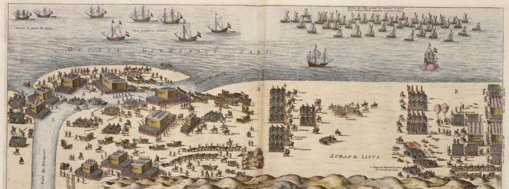 První fáze bitvy u Nieuwpoortu. V pravé části je postupující španělská armáda v bitevních fromacích, v levé části je nizozemská armáda překonávající řeku a pomalu vstupující rovněž do bitevních formací