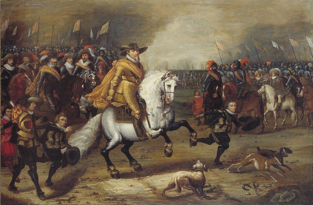 Mořic Oranžský vyobrazený jako vítězný vojevůdce
