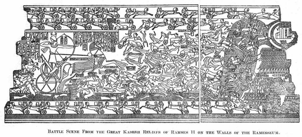 Bitevní vřava v čele s Ramessem II. na válečném voze. Reliéf umístěný na stěně chrámového komplexu jménem Ramesseum