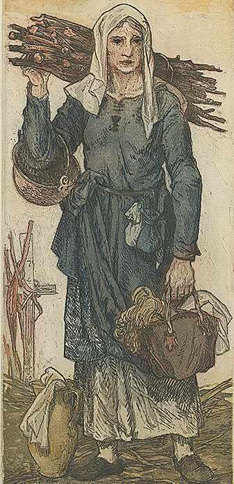 Ilustrace husitské ženy podle Jaroslava Vodrážky z roku 1960