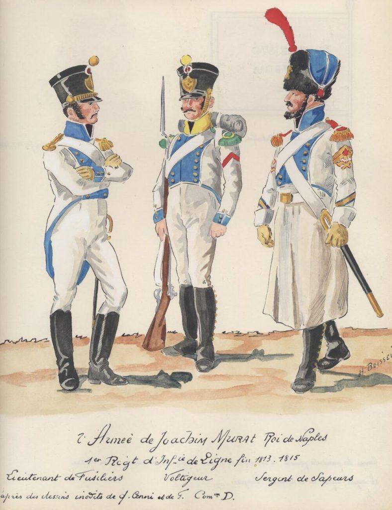 Armáda francouzského maršála Joachima Murata, krále neapolského, vojáci 1. řadového pluku v letech 1813–1815