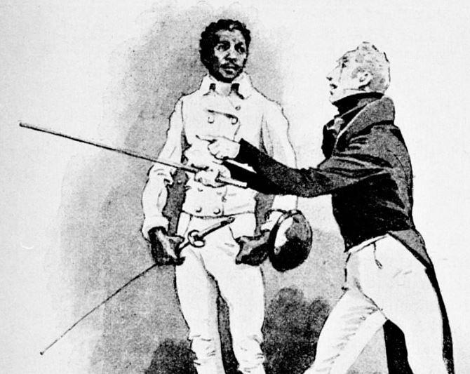 Mladý Jean Louis Michel a jeho šermířský mistr M. D'Erape