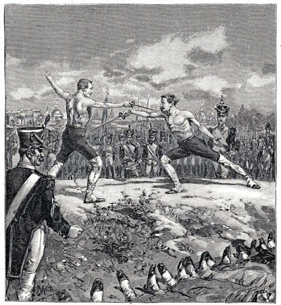 Madridský souboj z roku 1813 na dobové ilustraci z francouzských novin