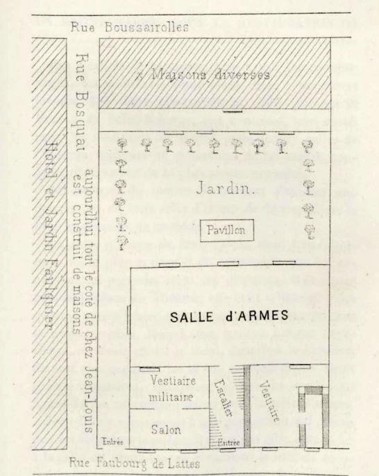 Plánek šermírny Jeana Louise Michela v Montpellier podle Petit essai historique: un maître d'armes sous la Restauration, Arsène Vigeanta z roku 1883