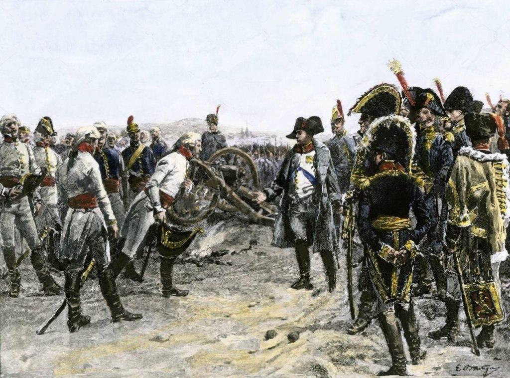 Rakouská kapitulace u Ulmu roku 1805 na ilustraci z roku 1906