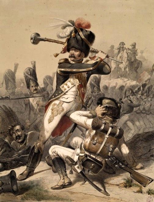Francouzský tambour-major v bitvě