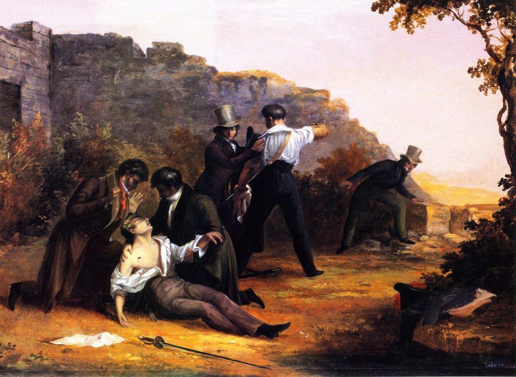 Obraz The Duel na plátně od Charlese Codmana zobrazuje typickou soubojovou atmosféru v 19. století
